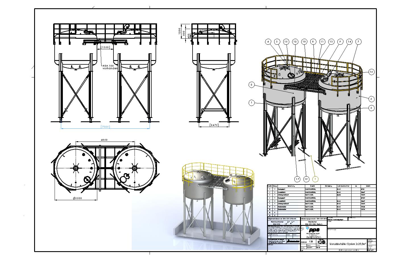 Vorratsbehälter System 2x25,5m²